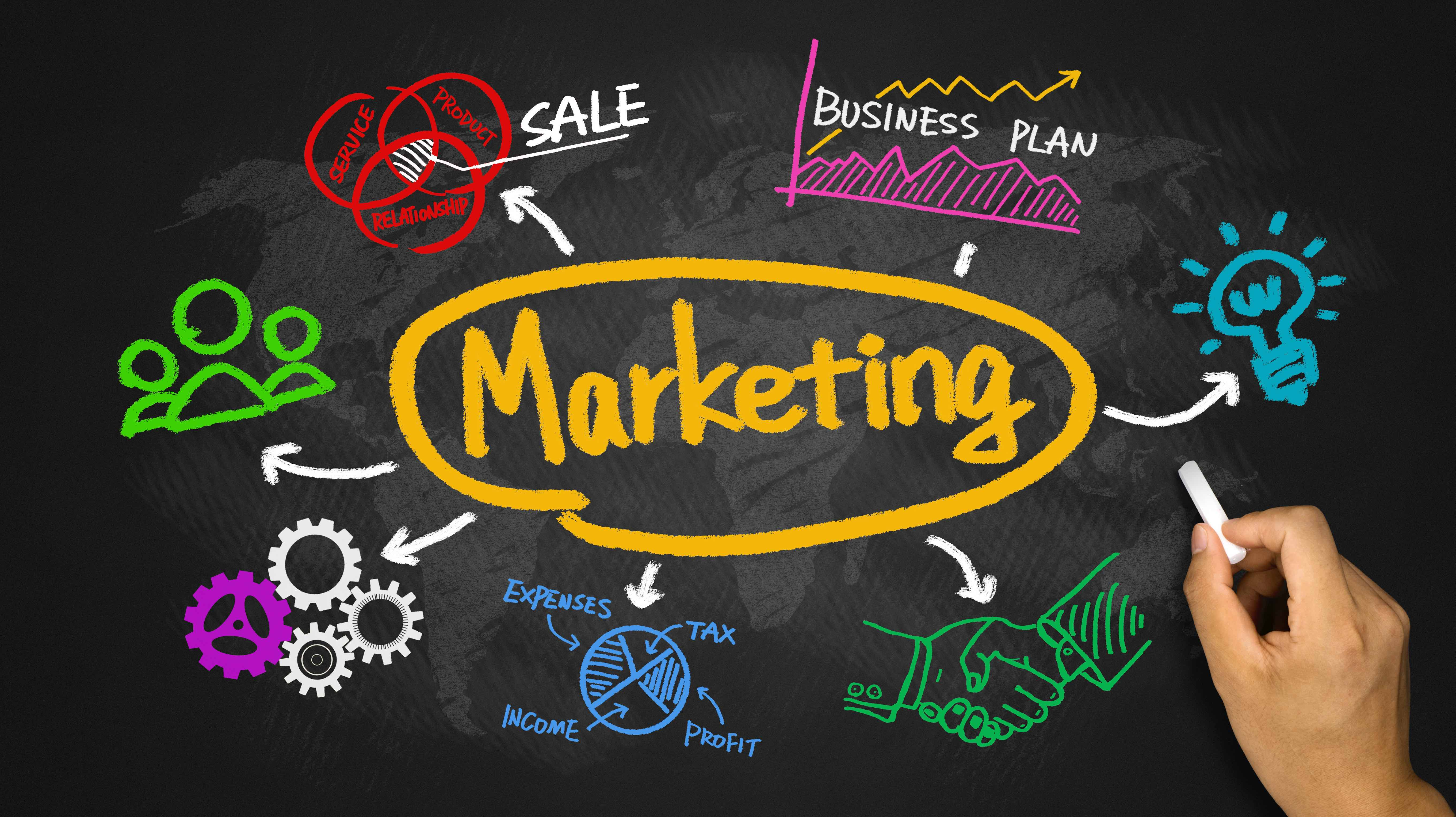 marketing  business graph and chart hand drawing on blackboard